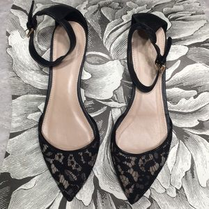 J. CREW lace flat pointed w strap 7.5